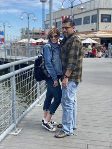 Jen and Manny on the boardwalk