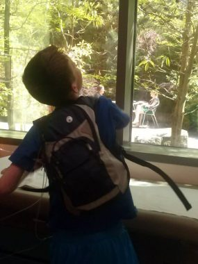 PH mother / Pulmonary Hypertension News / Cullen tosses sticky electrodes in the hospital while wearing a backpack and looking out the window.