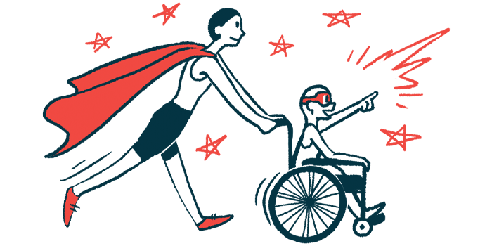 rare disease clinical trial participants | Pulmonary Hypertension News | Illustration of woman in cape pushing child in wheelchair